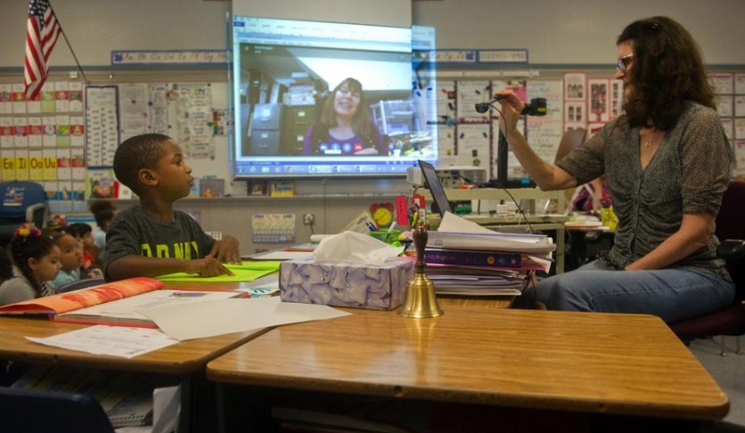 Jean Reagan Skypes with Kennedy First-Graders